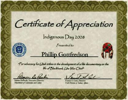 Black hawk war indigenous day award phillip gottfredson award certificate yadclub Images