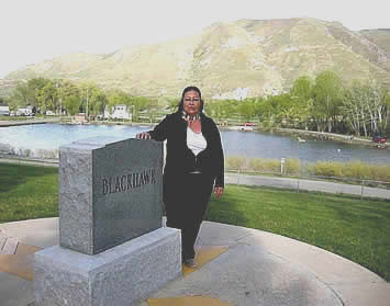 Photo of Timpanogos Excutive Chief Mary Meyer at the site of Timpanogos Chief Black Hawk of the Black Hawk War in Utah.