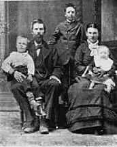 Photo of Peter Gottfredson and wife Amelia Gledhill, and family 1882.